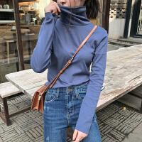 高领加绒打底衫女2018秋冬新款纯色内搭长袖T恤修身百搭加厚上衣 均码