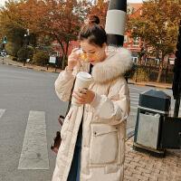羽绒服女冬2018中长款韩版时尚小个子白鸭绒大毛领过膝潮 米白色 图片色