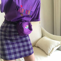 INS studios. 韩国INS同款紫色格子裙短裙OR刺绣短袖T恤 18ss女款