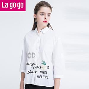 Lagogo2017夏季新款时尚纯棉白色字母印花衬衫女中长袖宽松百搭