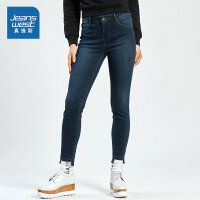 [秒杀价:31.9元,新年不打烊,仅限1.20-21]真维斯女装 冬装新款 时尚帅气弹力抓底牛仔长裤