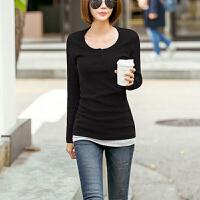 秋季拼接假两件上衣女士打底衫女长袖T恤修身显瘦休闲简约体恤潮