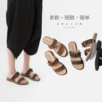 青婉田真皮软妹拖鞋女夏外穿仙女的鞋复古时尚ulzzang凉拖女厚底