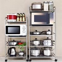 门扉 厨房置物架 不锈钢微波炉架落地移动收纳架整理架碗盘烤箱架
