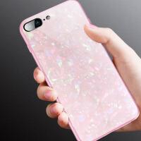 苹果7plus手机壳8plus男女款iPhone7玻璃贝壳全包