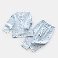 纱布婴儿内衣服长袖宝宝家居睡衣薄透气套装空调房夏装