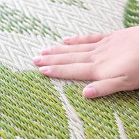 夏季客厅蔺草地毯卧室瑜伽爬行垫折叠地垫叶子图案自然风