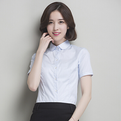 春夏季新款白色衬衫女短袖职业工作韩范女装衬衣女 -