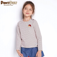 【1件4折 到手价:143】Pawinpaw卡通小熊童装秋女童长袖T恤中小童条纹可爱风