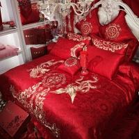 新款绣花婚庆四件套大红结婚床上用品六件套婚床套件刺绣被套枕套