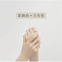 同心结原创简约纯银情侣戒指一对男女对戒月光石日韩学生活口刻字