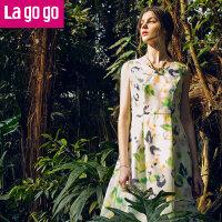 【满200减100】Lagogo/拉谷谷2016年夏季新款V领修身花色无袖连衣裙FBB950G412
