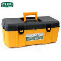 老A(LAOA)  加厚塑料五金工具箱 LA109117 双层钓鱼手提式电工箱耐磨  黄色