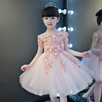 儿童礼服裙女童公主裙蓬蓬裙花童演出服走秀小主持人晚礼服春粉色