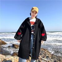 嘻哈少女外套春韩版学生宽松百搭中长款刺绣牛仔衣开学季连帽上衣