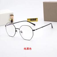 钛金超轻六边形眼镜框女韩版潮多边形眼镜平光镜可配 黑色框 整套包装11003