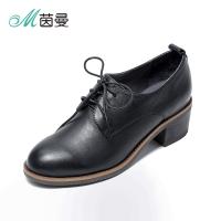 茵曼女鞋新品牛皮圆头粗跟深口系带英伦复古单鞋4873044046