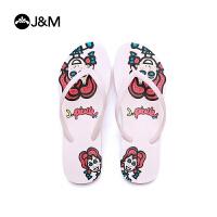 jm快乐玛丽2018新款涂鸦时尚人字拖个性夹趾卡通沙滩女凉拖鞋T1031W