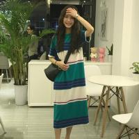 春夏韩版宽松撞色条纹短袖T恤裙 中长款显瘦气质连衣裙女学生长裙