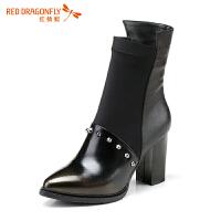 红蜻蜓真皮女靴子铆钉切尔西短靴尖头粗跟马丁靴中跟单靴女