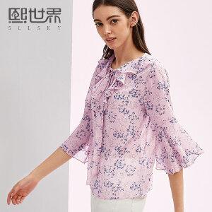 熙世界七分袖波西米亚雪纺衫女2018年夏装新款