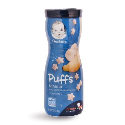 美国嘉宝Gerber 香蕉口味水果星星泡芙 宝宝小零食 42g 宝宝辅食