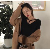 配大衣的打底衫女春季2018时尚圆环镂空短装长袖T恤百搭学生上衣