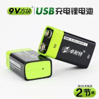 6f22电池USB 9v充电电池 方块电池 6F22锂电池 KTV话筒万用表 2节 图片色