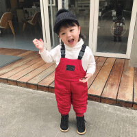 婴童装女宝宝背带棉裤加绒加厚1-3岁冬儿童保暖裤外穿长裤