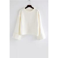 白色针织衫女士套头2018新款韩版宽松喇叭袖条纹秋装学生短款毛衣 白色 均码