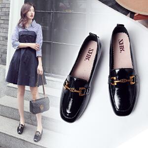 ZHR2018春季新款韩版乐福鞋chic小皮鞋平底休闲鞋方头单鞋女鞋潮J58