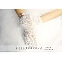 蕾丝手套薄款夏季防晒新娘婚纱手套短款红色黑色白色五指结婚手套 均码