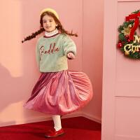 【1件4折:172】巴拉巴拉旗下女童金丝绒套装裙2019新款冬装加绒加厚公主套装女