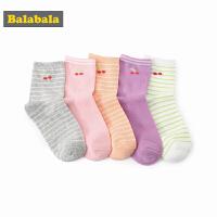 巴拉巴拉童装女童多色儿童袜子春装2018新款松口中高筒袜五双装女