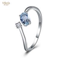 梦克拉 18K金托帕石钻石戒指 蓝梦缘 k金刻面椭圆形蓝黄玉钻戒 彩宝指环女