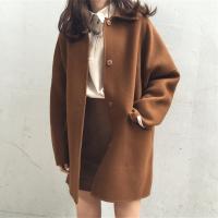 春季新款纯色复古毛呢大衣女宽松加厚保暖气质百搭中长款学生外套