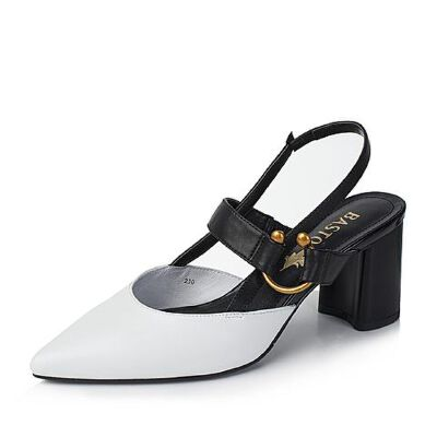 BASTO/百思图2017夏季/黑羊皮时尚尖头粗高跟女凉鞋RCA01BH7