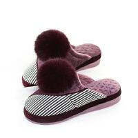 冬天棉拖鞋女PU皮面防水保暖室内防滑坡跟厚底加厚月子居家鞋女冬