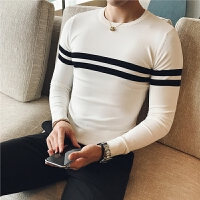 新款秋冬男士圆领打底毛衣套头青年英伦撞色紧身针织衫韩版修身线