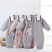 婴儿连体衣男女宝宝夹棉哈衣纯棉长袖外出服