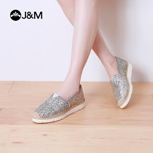 jm快乐玛丽帆布鞋夏季松糕厚底套脚亮片女学生鞋懒人渔夫鞋52028W