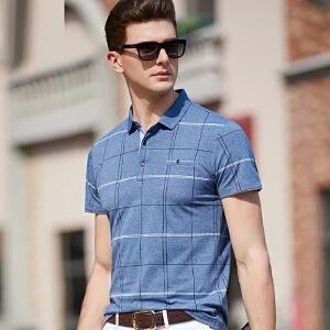 2019青年短袖t恤 男装夏季男士宽松大码半袖格子印花男翻领口袋休恤衫