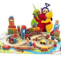轨道积木木制男孩女孩宝宝木头玩具桶装 轨道车城市积木