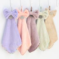 挂式珊瑚绒 蝴蝶结毛巾擦手巾 抹手布擦手帕创意童巾