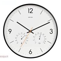 带温湿度计时钟静音卧室石英简约现代壁挂钟饰北欧风客厅钟表挂钟 14英寸
