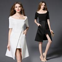 新款一字领露肩连衣裙名媛气质不规则修身黑色小晚礼服女
