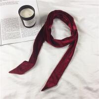 风窄丝巾腰带飘带复古时髦丝绒细长围巾纯色蝴蝶结领巾女