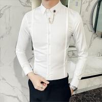 新品衬衫男韩版修身长袖白色寸衣青年潮流纯色春装英伦风休闲衬衣