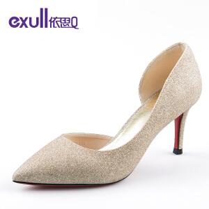 依思q春秋新款浅口单鞋时尚侧空尖头高跟鞋细跟女鞋子-