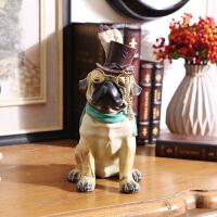 美式乡村莫西卡树脂绅士斗牛狗摆件 家居咖啡厅软装饰品